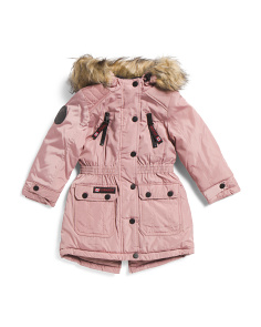 Little Girls Anorak Jacket With Faux Fur Hood