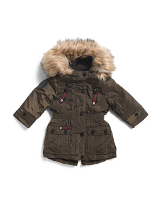 Toddler Girls Anorak Jacket With Faux Fur Hood