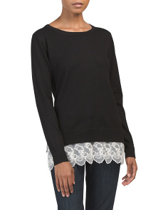 Long Sleeve Sweater With Lace Hem