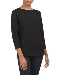 Pointelle Sleeve Fine Gauge Sweater