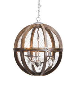 Small Renaissance Invention Wood And Wire Chandelier