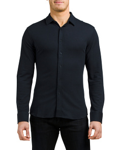 Long Sleeve Stretch Pique Knit Shirt