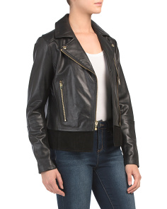 Leather Moto Jacket With Suede Trim