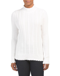 Cotton Scalloped Cable Knit Turtleneck Sweater