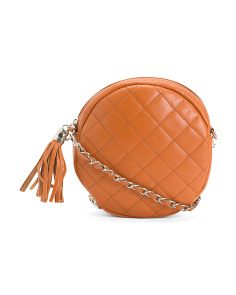 Made In Italy Leather Circle Crossbody