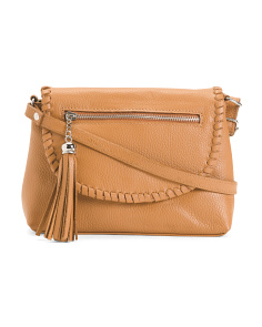 Made In Italy Leather Crossbody Whipstitch