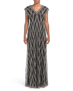Chevron Metallic Gown