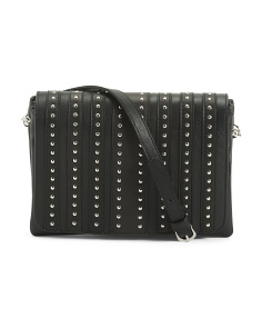 Made In Italy Studded Leather Multi Gusset Crossbody