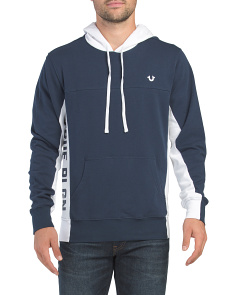 Long Sleeve Side Logo Paneled Hoodie