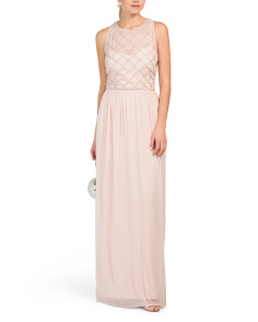 Sleeveless Beaded Bodice Chiffon Gown