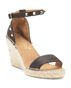 Made In Spain Studded Leather Wedge Espadrille Sandals