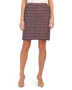 Made In Usa Novelty Tweed Knit A-line Skirt