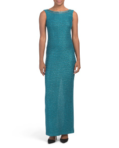 Made In Usa Shimmer Sequin Knit Bateau Neck Gown
