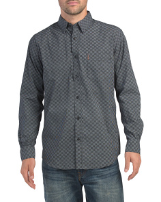 Long Sleeve Checkerboard Print Shirt