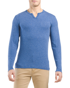 Burnout Long Sleeve Notch Neck Tee
