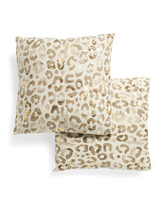 2pk Linen Look Metallic Cheetah Pillows