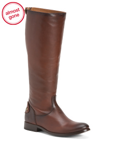 High Shaft Equestrian Back Zip Leather Boots