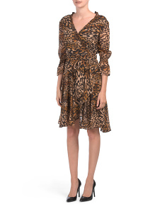 Petite Leopard Wrap Dress