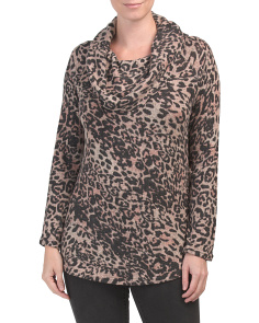 Leopard Print Off The Shoulder Cozy Tunic