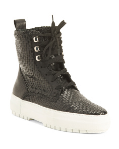 Made In Italy Woven High Top Leather Sneaker Boots