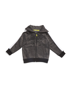 Little Boys Logo Trim Zip Up Hoodie