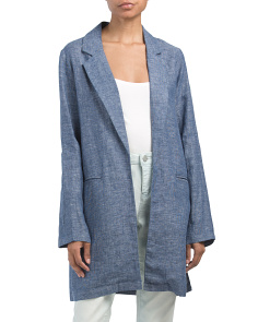 Cross Dye Long Sleeve Linen Jacket