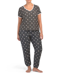 Plus 2pc Star Skinny Pant Pj Set