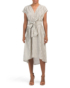Striped Linen Look Tie Midi Dress