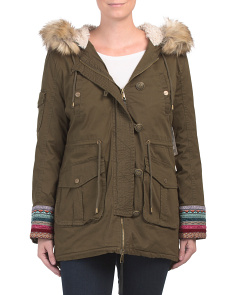 Multi Trim Woodland Anorak Coat