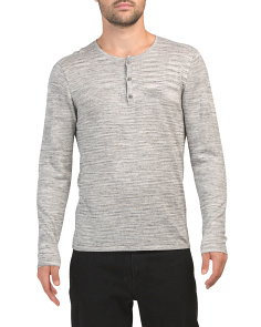 Long Sleeve Henley With Racking Stitch Detail