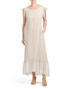 Made In Italy Linen Flounce Maxi Dress