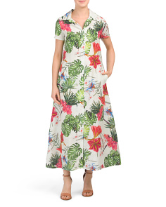 Made In Italy Linen Tropical Print Shirt Maxi Dress