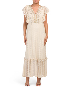 Made In Italy V-neck Lace Maxi Dress