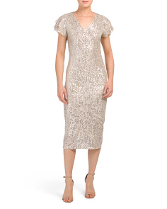 Made In Italy Ruffle Sleeve Sequin Midi Dress