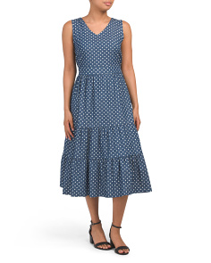 Made In Italy Diamond Dot Tiered Midi Dress