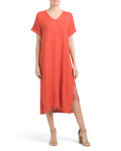 Made In Italy Side Slit Linen Maxi Dress
