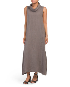 Made In Italy Cowl Neck Linen Maxi Dress