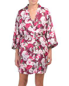 Printed Matte Charmeuse Floral Robe