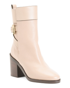 Made In Spain Buckle Detail Block Heel Leather Ankle Boots