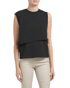 High Twist Jersey Layered Muscle Top