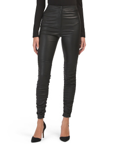Stretch Leather Pants Wth Ruching