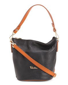 Made In Italy Leather Crossbody With Vachetta Trim