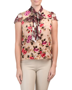 Jeannie Bow Cap Sleeve Button Down Top