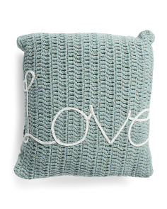 20x20 Embroidered Love Sweater Knit Pillow