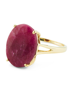 Made In India 14k Gold Plated Sterling Silver Gemstone Ring