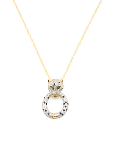 Sterling Silver Cz Panther Head Necklace
