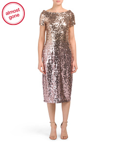 Short Sleeve Ombre Sequin Midi Dress