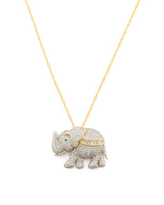 Sterling Silver Two Tone Cz Elephant Necklace