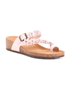 Made In Italy Toe Ring Flower Band Leather Sandals