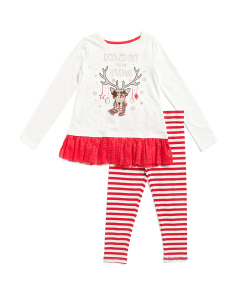 Girls 2pc Reindeer Ruffle Top And Striped Leggings